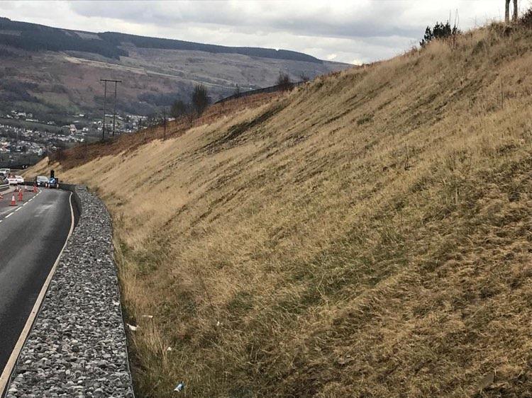Aberdare mountain road Maerdy with slip 2