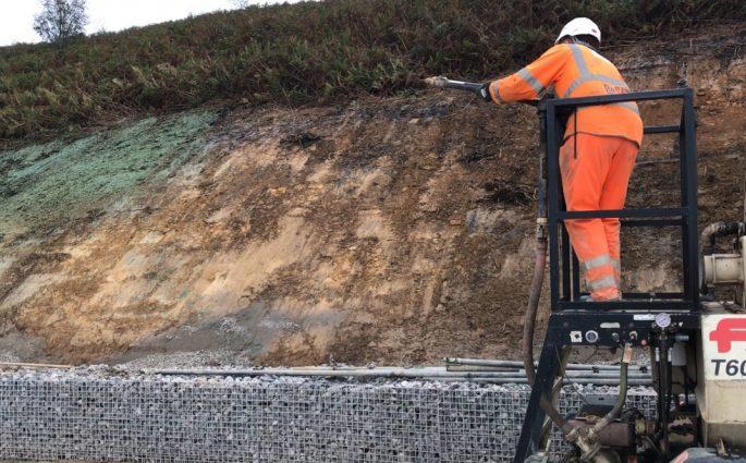 Hydroseeding TerrAffix on to steep verge with heavy clay soil