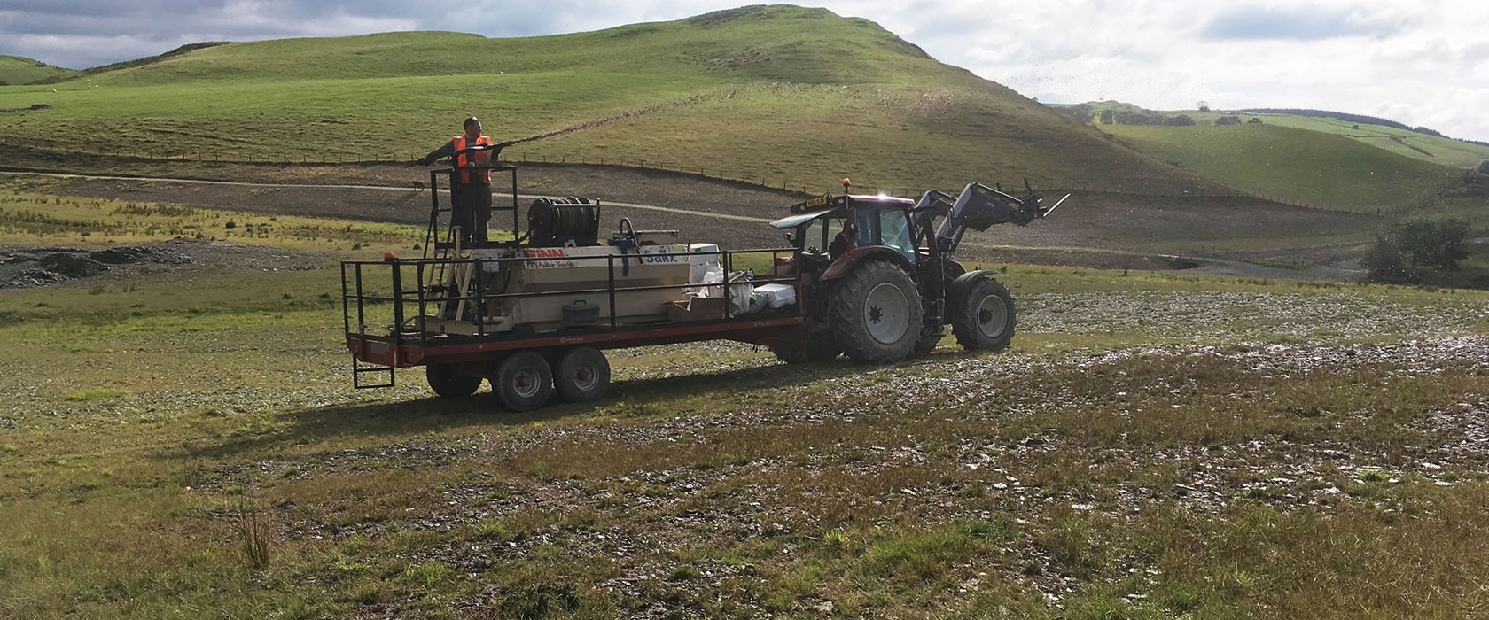 Spraying TerrAffix-Hydrasoil at Frongoch