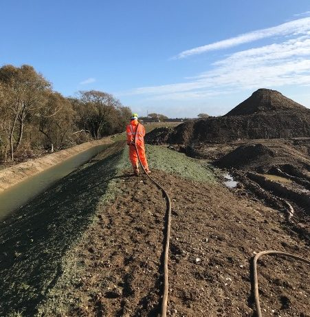 Hydroseeding steep embankments 2